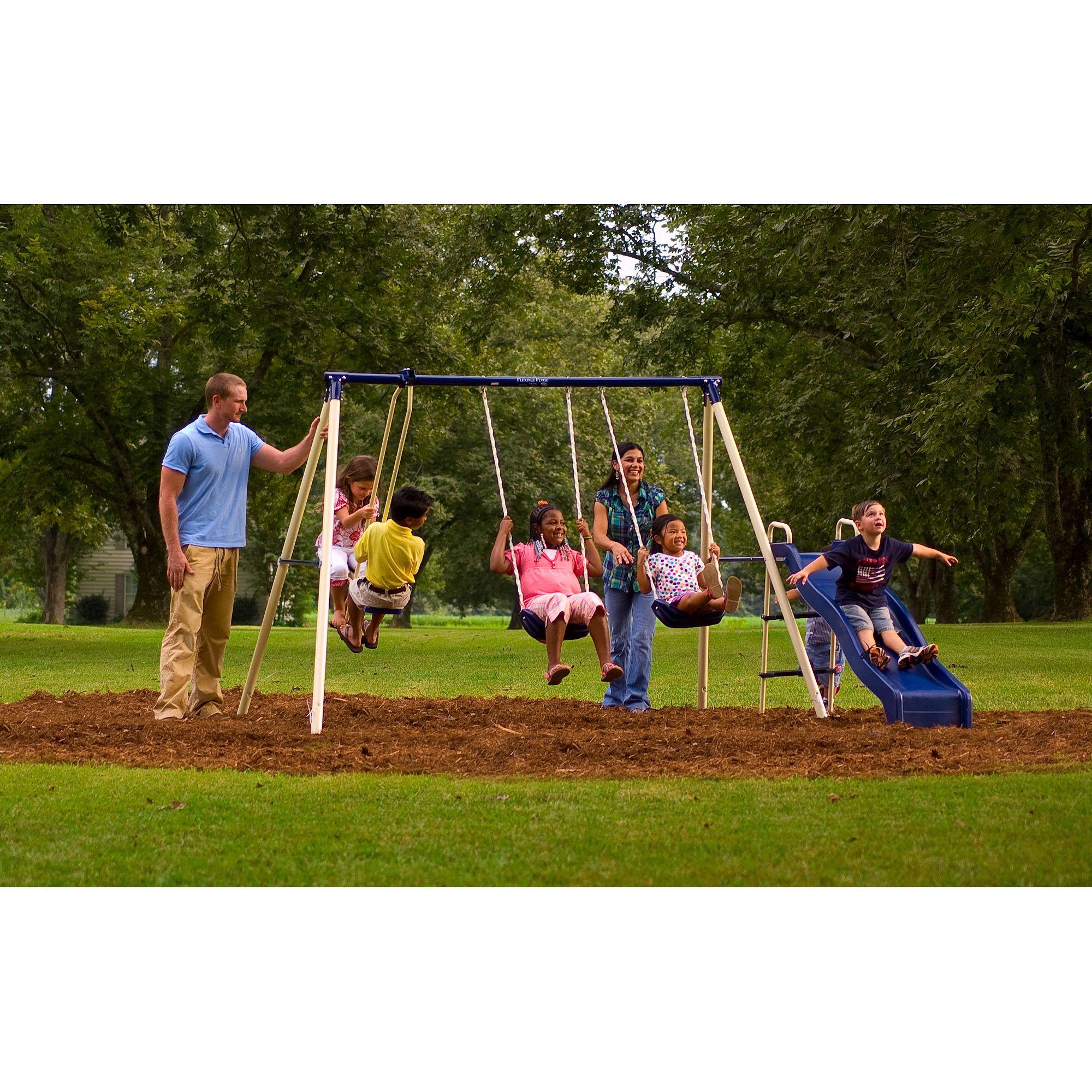 Flexible Flyer Backyard Swingin Fun Metal Swing Set ...