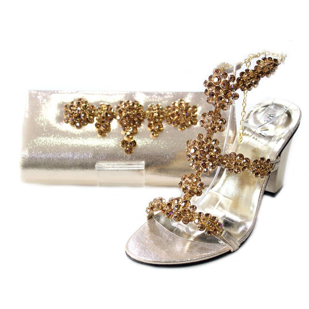 WW Women Ladies Evening Matching Bag Shoes Original Swarovski Stone Sandal Wedding Party Block Heel