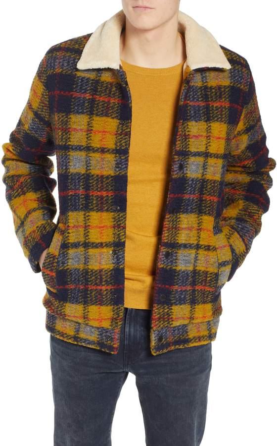 0a2af2de Scotch & Soda Plaid Faux Shearling Lined Wool Blend Trucker Jacket ...