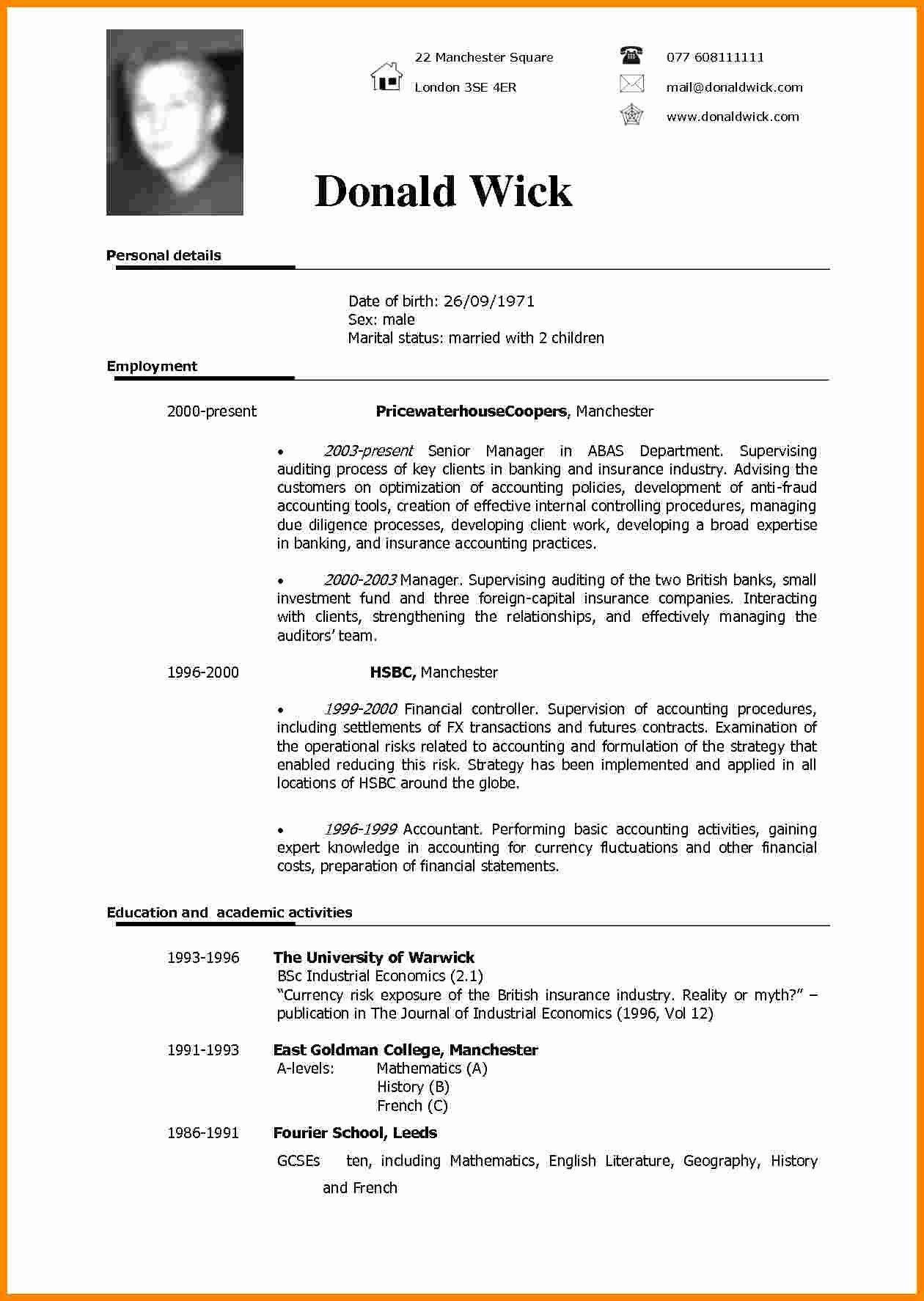 Download Word Resume Template Inspirational 5 Cv Sample In