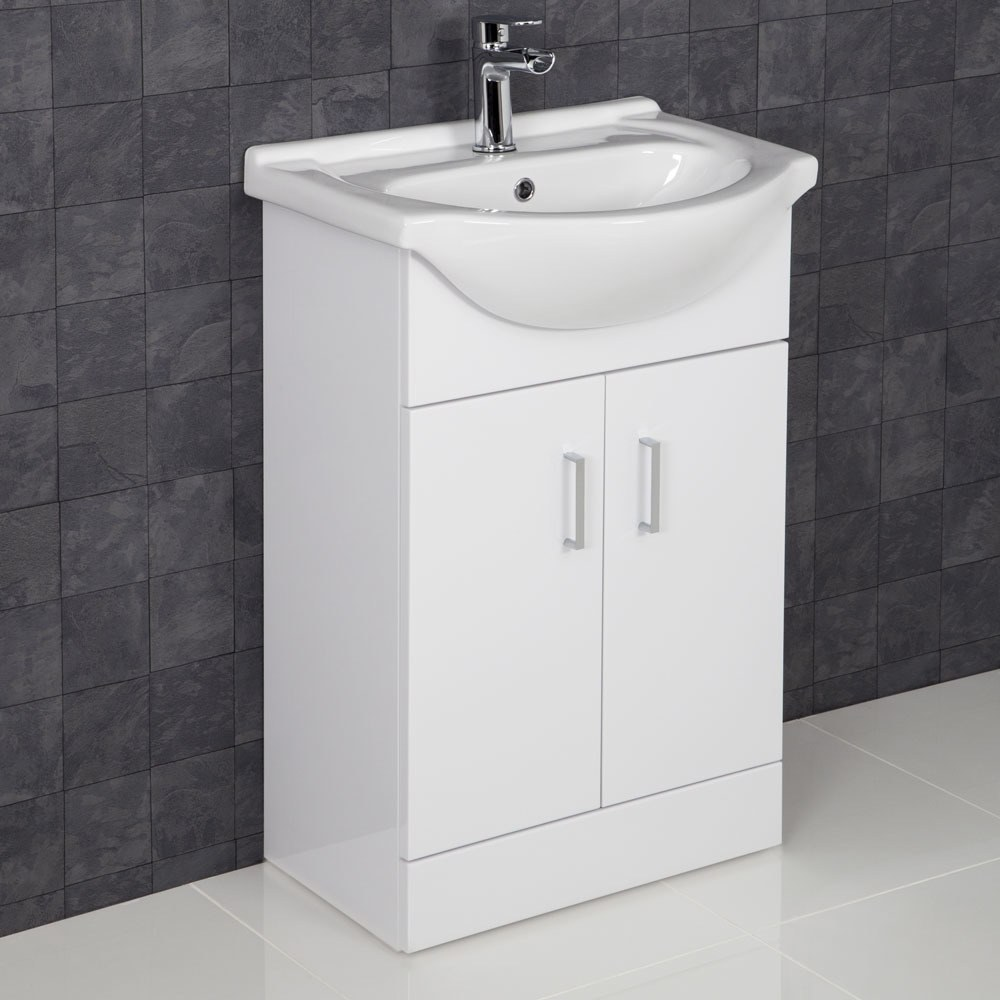 Essence White Gloss Bathroom Sink Cabinet Basin 550mm Width Bathroom Sink Cabinets Complete Bathrooms Bathroom Vanity Units