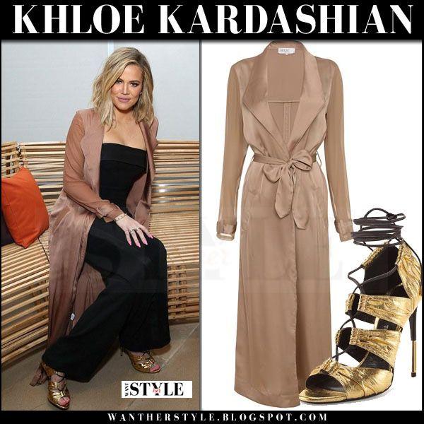 ec24d56c80b Khloe Kardashian in rose gold beige silky duster coat
