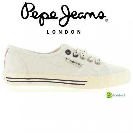 b965f1fddf3 Si te gusta Pepe Jeans te encantarán estas zapatillas deportivas tipo bamba  en lona color blanco con cordones ! Del 35 al 39