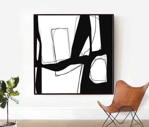 Black and White Abstract Painting, Minimalist Art Large, Living Room
