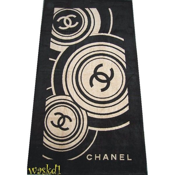 Chanel Towel: Auth CHANEL Blck Beige CC Terry BEACH Blanket Towel NEW