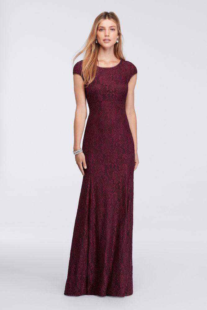 ccc43054c02 Long Cap-Sleeve Lace Mother of Bride Groom Dress with Low Back - Burgundy  (Red)