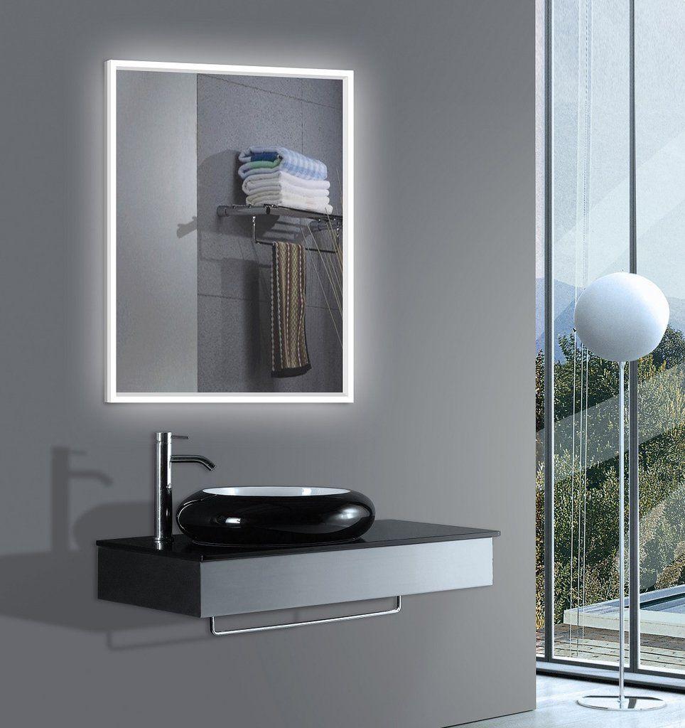 Merveilleux Lighted Bathroom Mirror With Acrylic Side Size: H:32 X W:24 X D:
