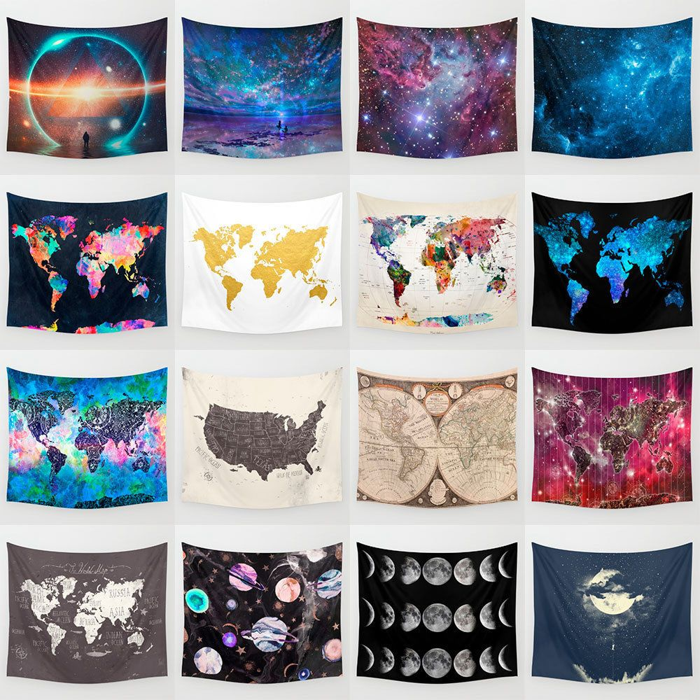 Vintage world map galaxy tapestry polyester wall hanging decor vintage world map galaxy tapestry polyester wall hanging decor hippie bedspread home garden home dcor tapestries ebay 3 1098 gumiabroncs Gallery