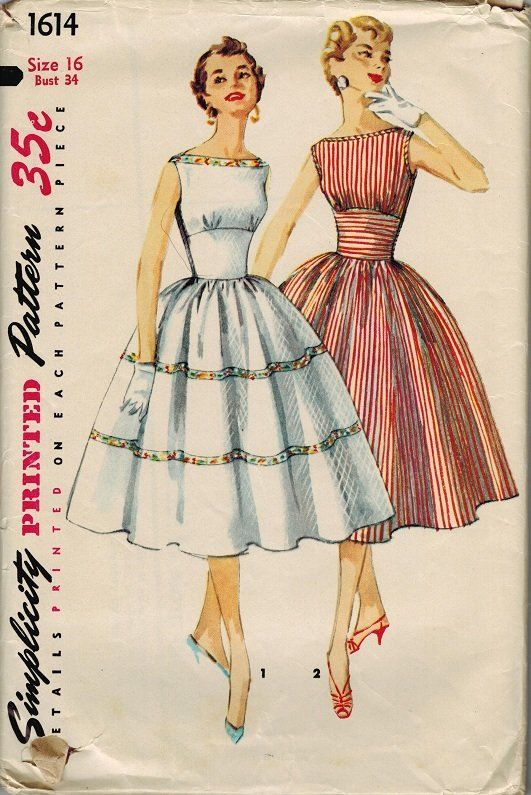 Simplicity 1614 50s Bateau Neckline Dress Full Skirt Vintage Sewing Patterns1950s
