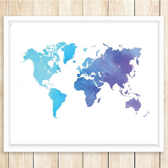2 large world map poster blue purple watercolor world map 16x20 2 large world map poster blue purple watercolor world map 16x20 and 11x14 gumiabroncs Image collections
