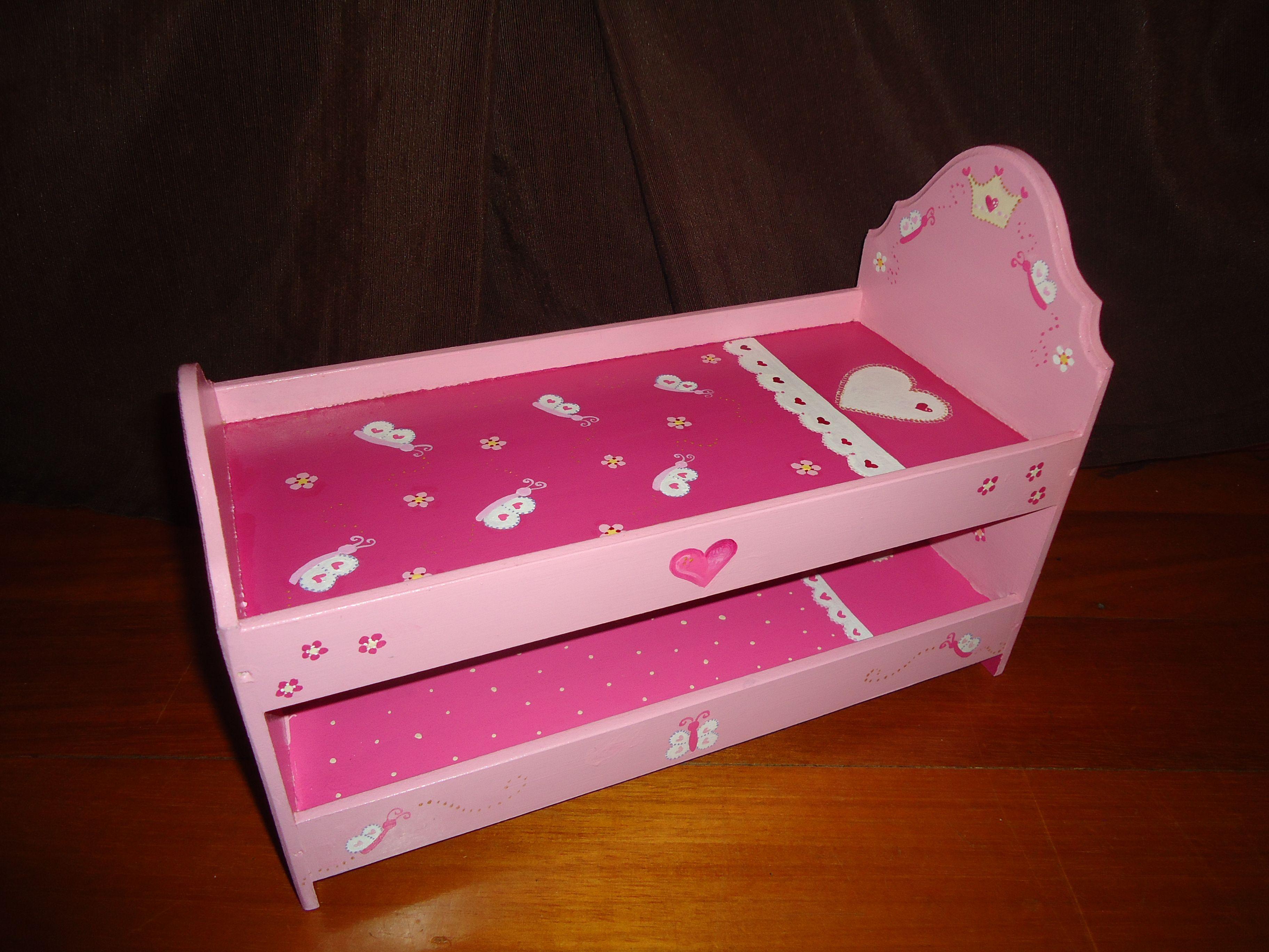 Cama cucheta doble para barbies muebles para mu ecas for Como hacer una cama japonesa paso a paso