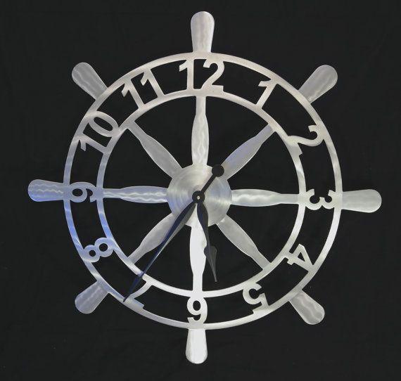 Nautical Ships Wheel Wall Clock by CRCMETALFAB on Etsy