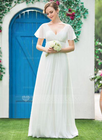 54c543be2 Corte imperial Escote en V Hasta el suelo Chifón Vestido de novia con  Bordado Plisado (002042302)
