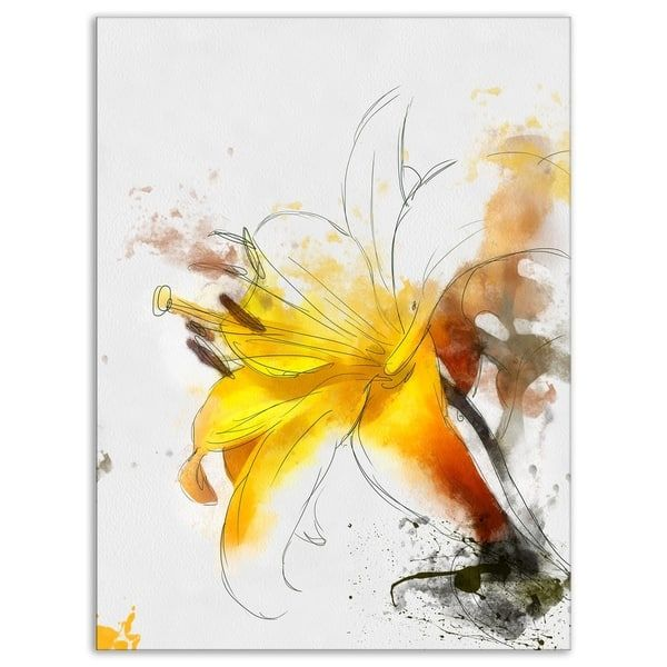 Yellow Lily Sketch Watercolor\' Modern Floral Canvas Wall Art   gul ...