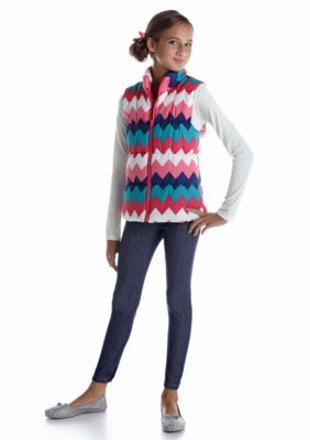 One Step Up  3-Piece Chevron Puffer Vest Tee and Jegging Set Girls 7-1