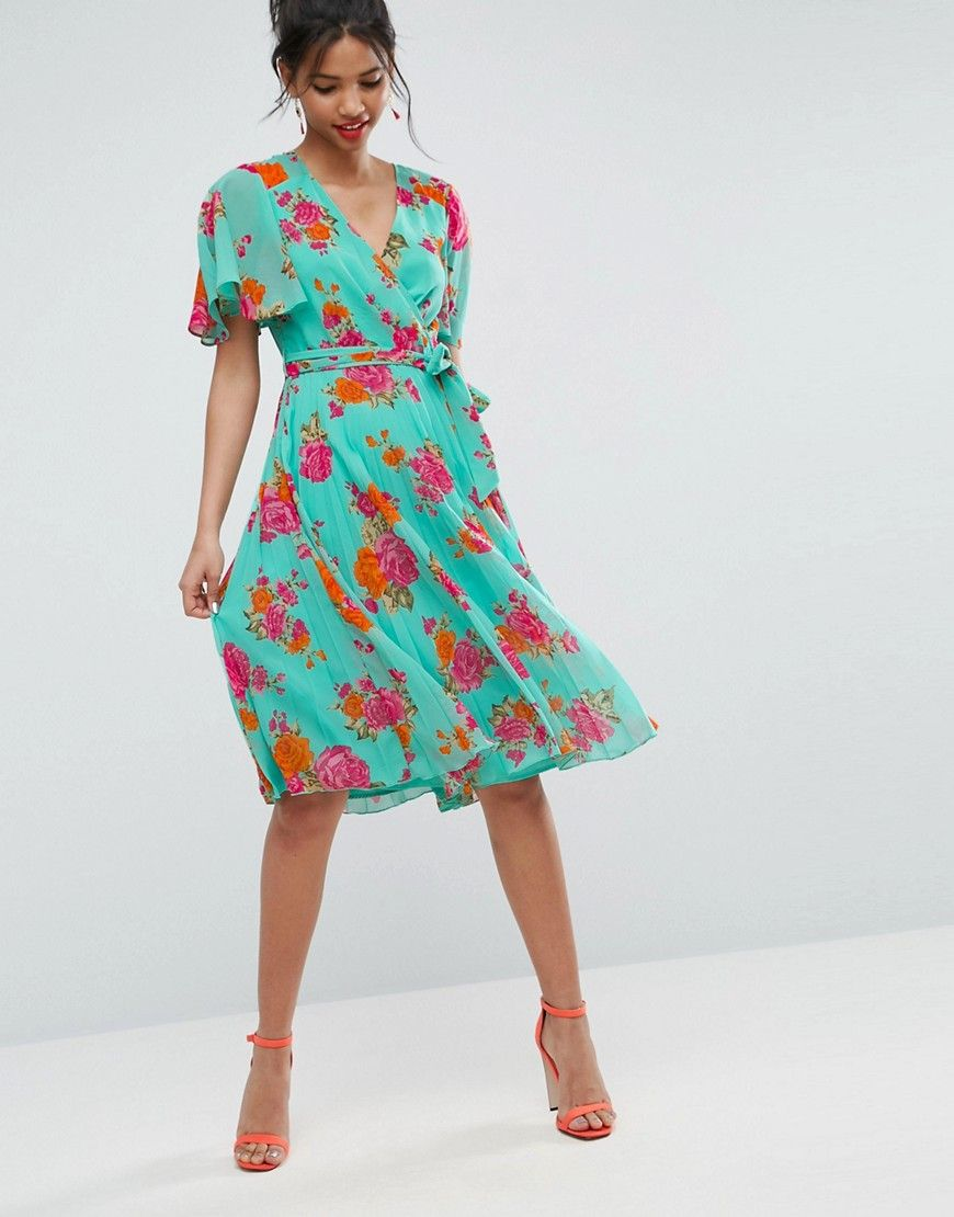 4ed4226c46d5 Buy it now. ASOS Pleated Midi Dress in Floral Print - Multi. Dress by ASOS  Collection, Lined chiffon, Pleated skirt, Floral print, V-neck, Self-tie  waist, ...