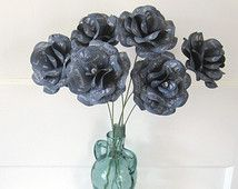 Denim and Diamonds Party  Paper Roses with Personalized Print and 14 inch stems Set of 6
