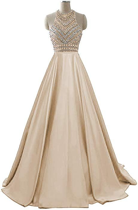 ad0ccdee327 Amazon.com  HEIMO Women s Sequins Evening Party Gowns Beading Formal Prom  Dresses Long H187