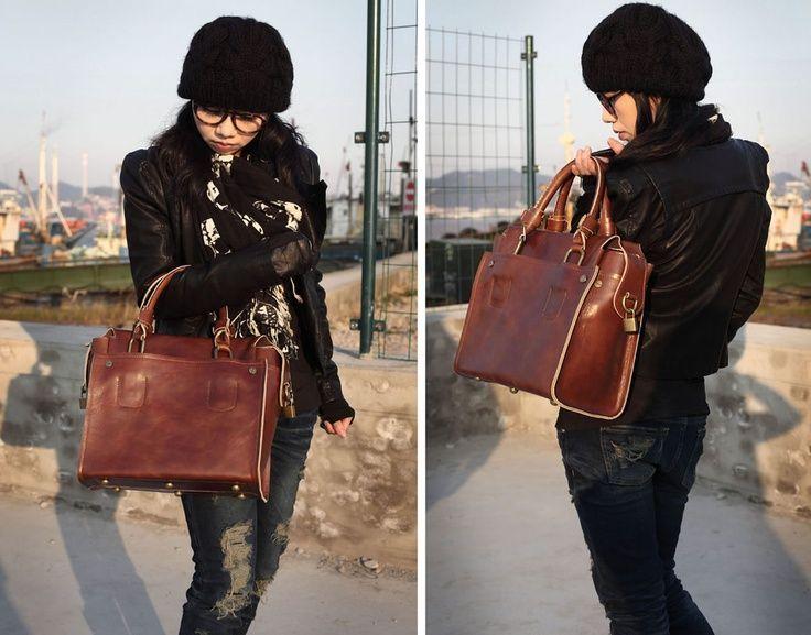 Handmade Genuine Leather Womens Briefcase Handbag