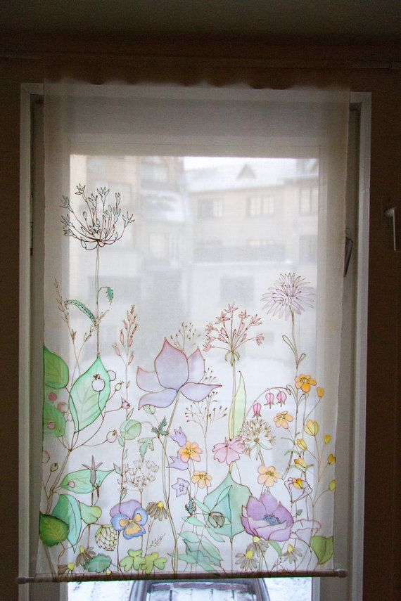 Hand Painted Curtains Field Flowers Silk Screen Wind Flowers Etsy Painted Curtains Hand Painted Fabric Hand Painted