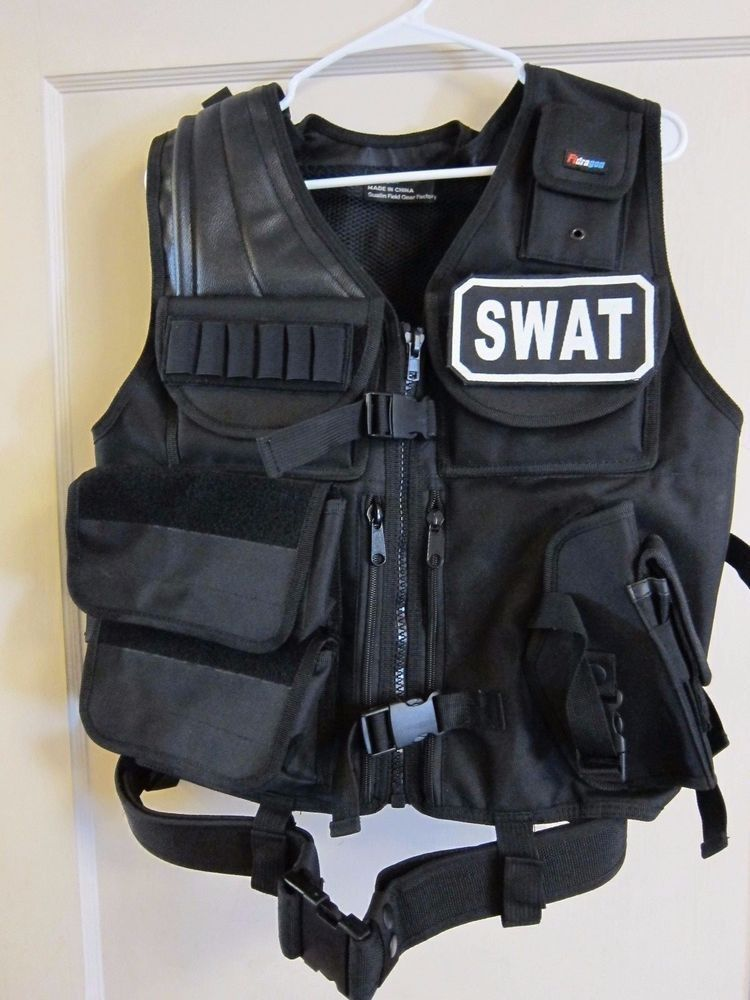 SWAT TEAM T-SHIRT /& CAP ADULT POLICE MILITARY FANCY DRESS LOT ACCESSORY COSTUME