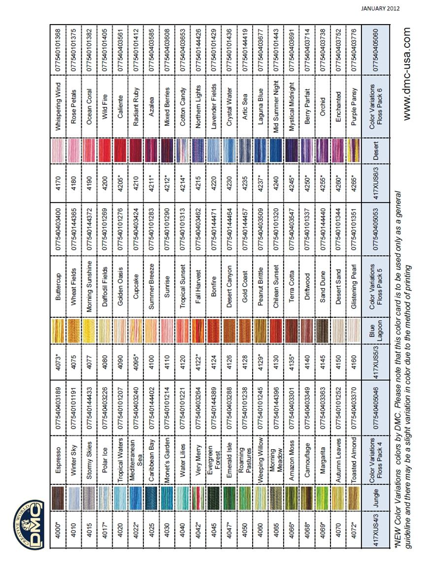 Dmc Color Variations Knitting And Other Crafty Things Pinterest