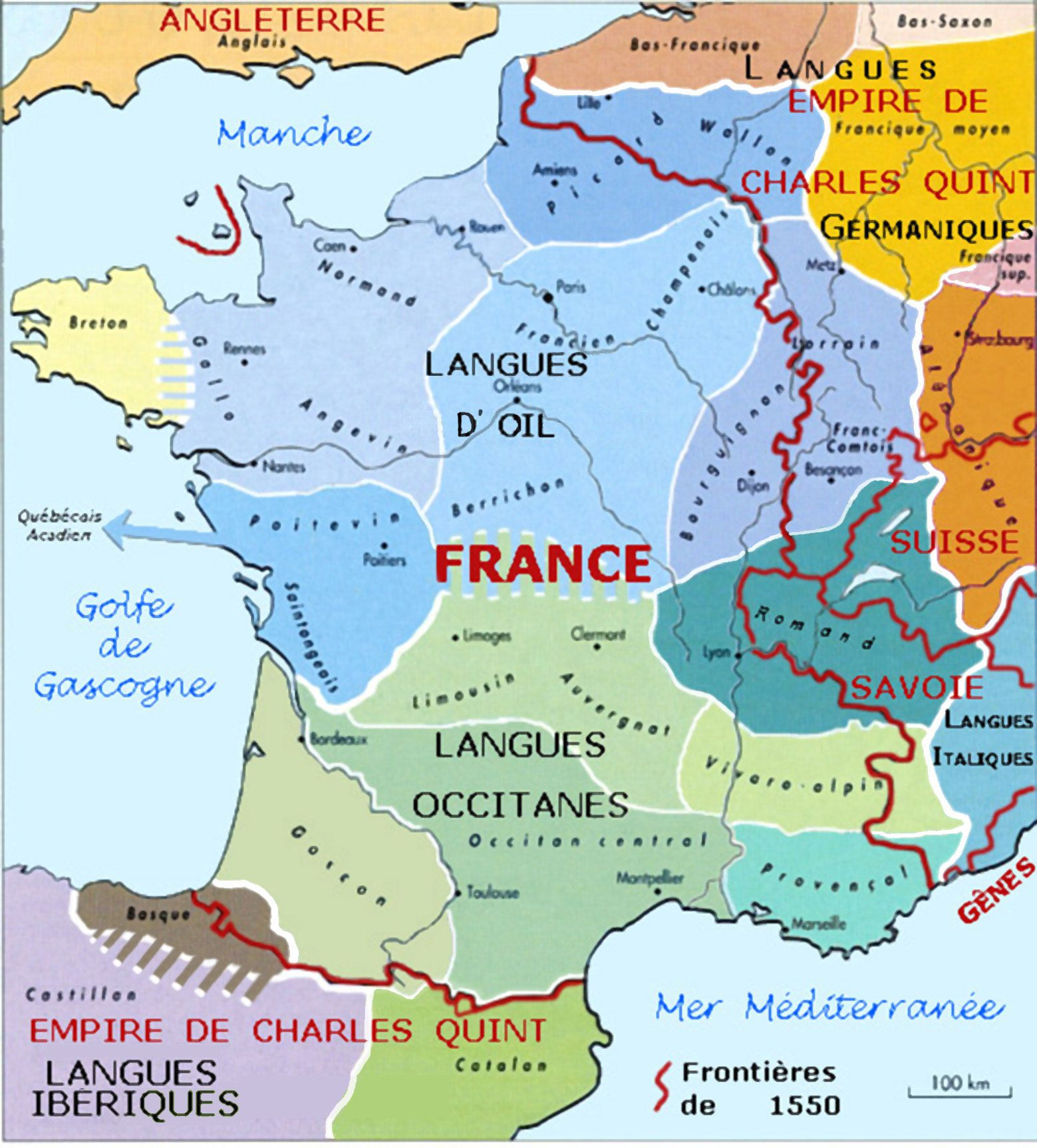 France On A Map Of Europe.France Languages Borders 1550 16th Century Europe France