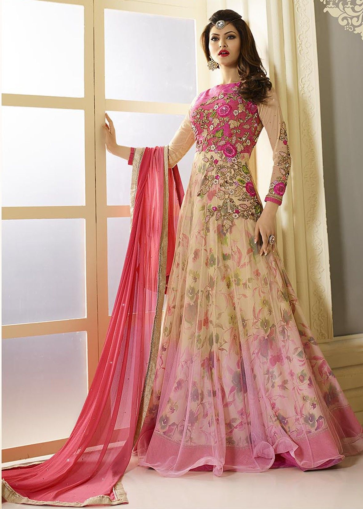 5a30390d8f Light Pink and Cream Colour Net Embroidery Work Stitched Suit ...