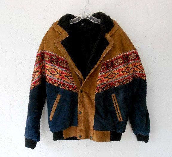 Vintage Bomber Jacket, Mens Southwestern Navajo Print Embroidered ...