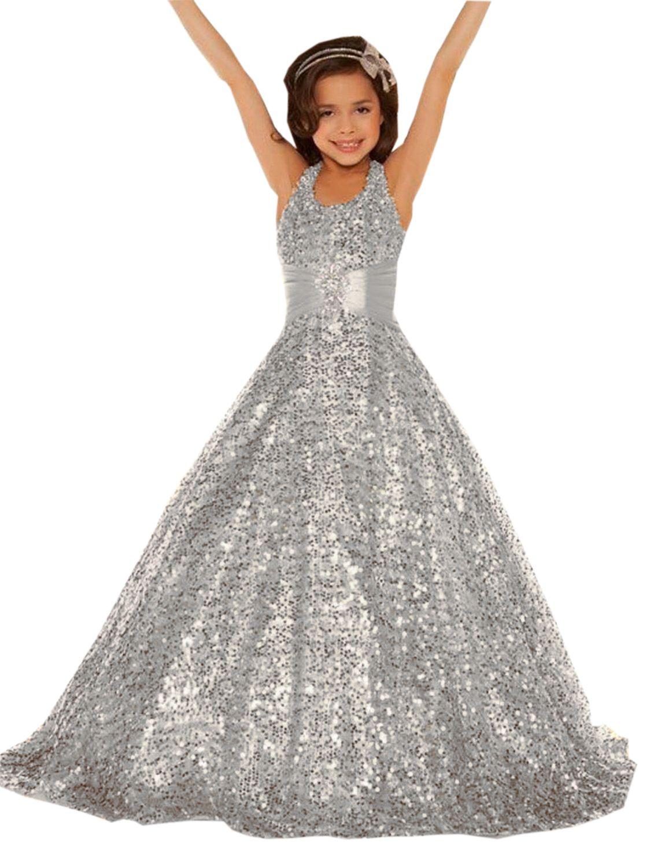 Sliver sequined dresses for little girls , ball gowns for girls ...
