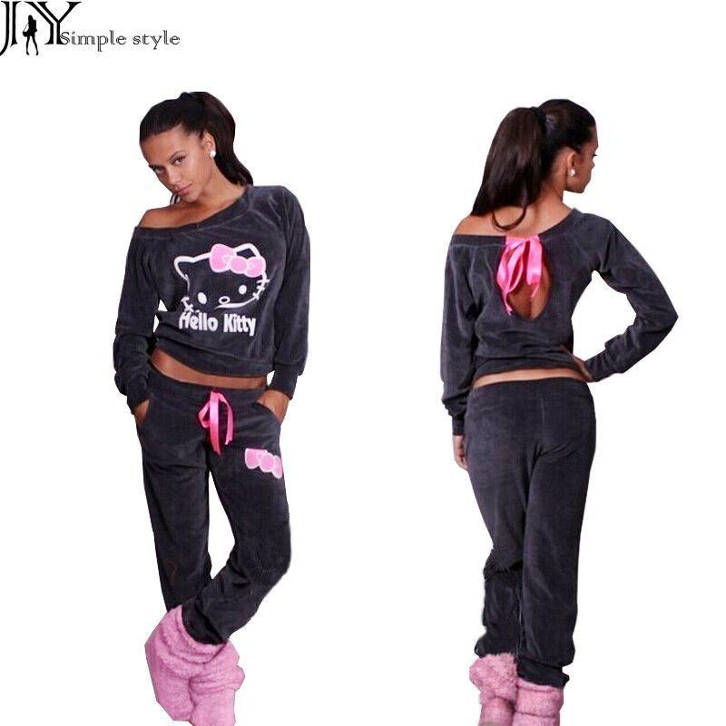 c25c1fd49 New Women Hello Kitty Printed Velvet Sweatshirts 2pcs/Sets Hoodies Pullover  Tracksuits Sweatshirt and Pants