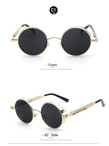 1b6f9daf7a Gothic Steampunk Mens Sunglasses Coating Mirrored Sunglasses Round Circle  Sun glasses Retro Vintage Gafas Masculino Sol