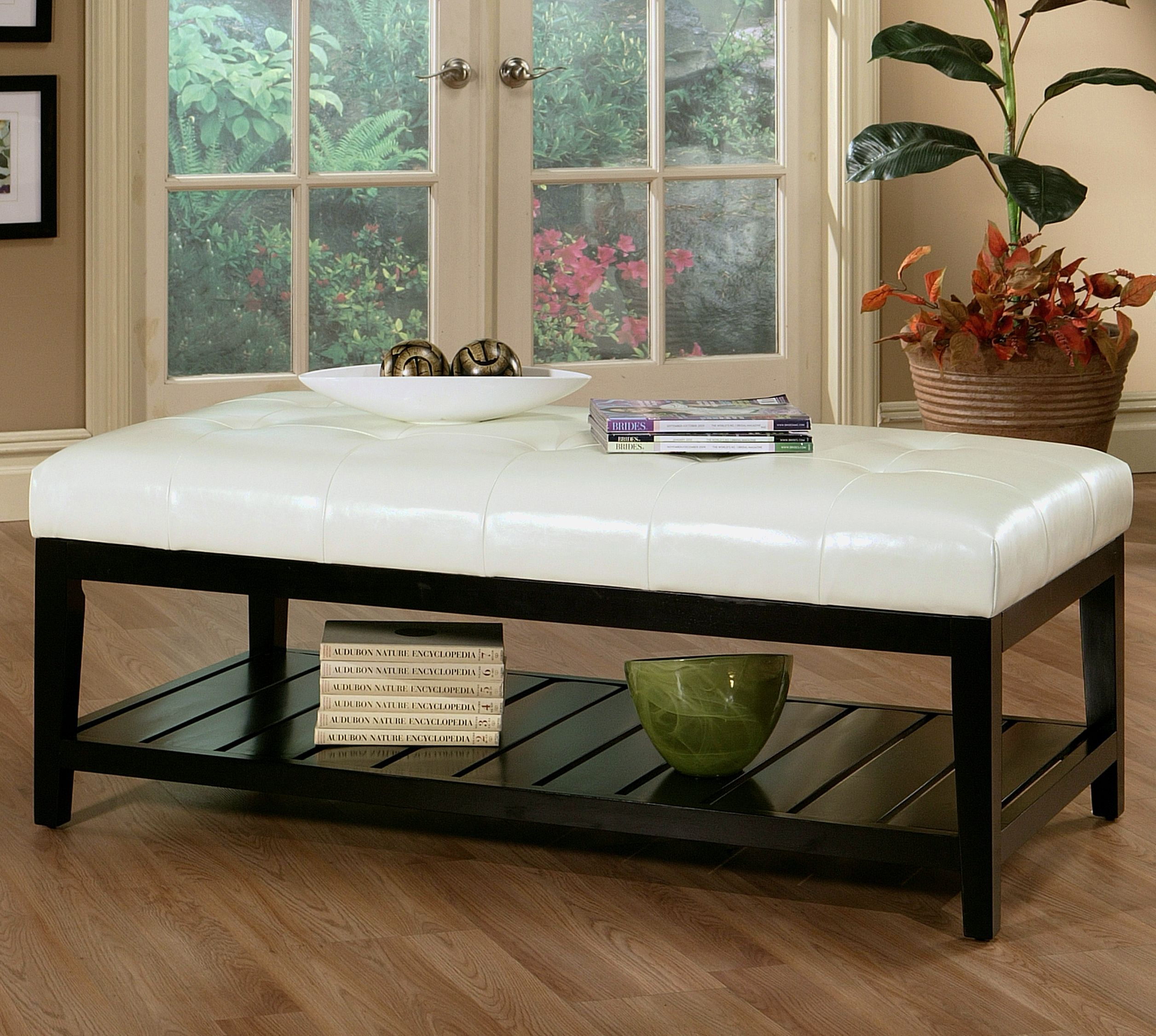 Brilliant Abbyson Living Manchester White Tufted Leather Coffee Table Bralicious Painted Fabric Chair Ideas Braliciousco