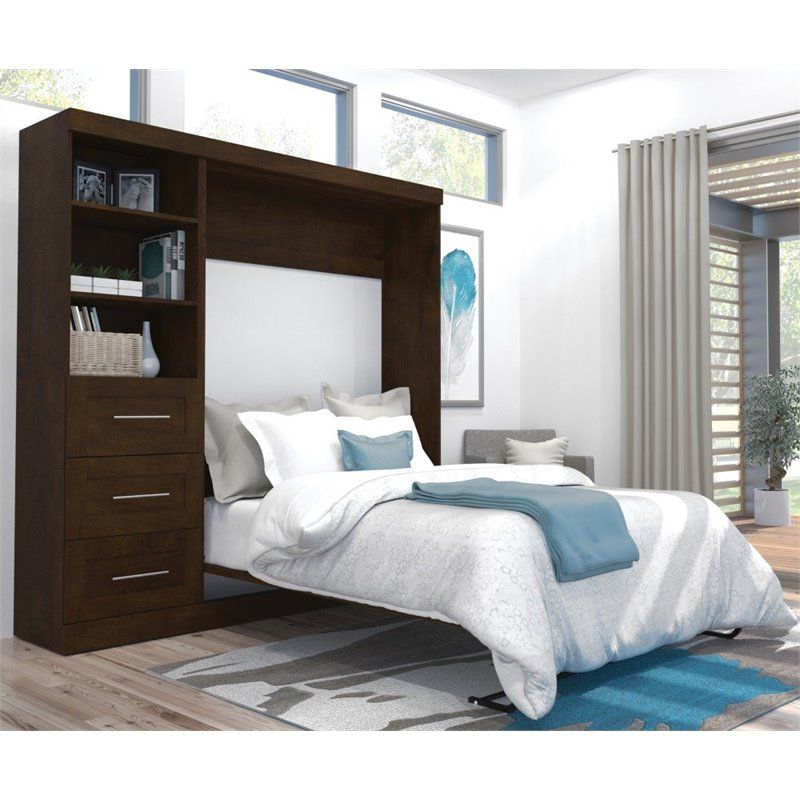 Best Bestar Pur 84 Full Wall Bed In Chocolate Murphy Bed 400 x 300