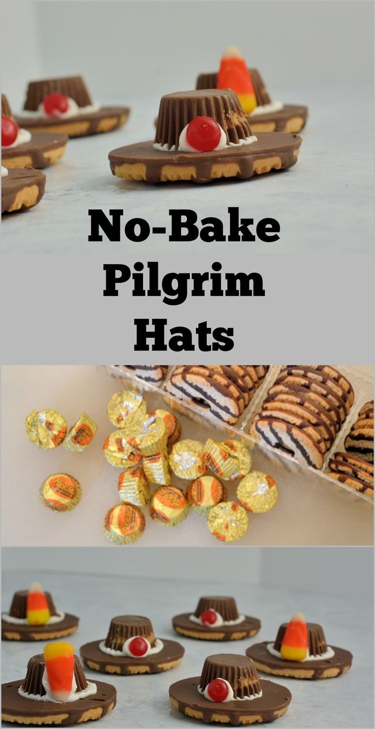 Pilgrim Hat Cookies a simple, yet cute activity for kids and a wonderful decoration for a dessert tray on Thanksgiving. They require no baking and only 4 ingredients.No-bake Pilgrim Hat Cookies a simple, yet cute activity for kids and a wonderful decoration for a dessert tray on Thanksgiving. They require no baking and only 4 ingredients.