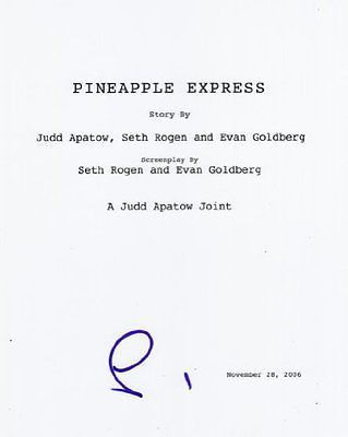 Seth Rogen Signed Pineapple Express Script Autograph Full Every