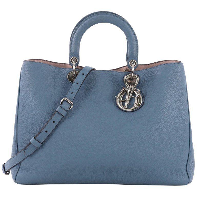 336fabd73e0 Christian Dior Diorissimo Tote Pebbled Leather Tote Bag, Gray in ...