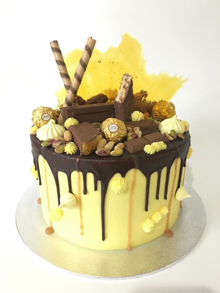 Sensational Yellow Honeycomb Drip Cake With Images Cake Chocolate Drip Funny Birthday Cards Online Elaedamsfinfo