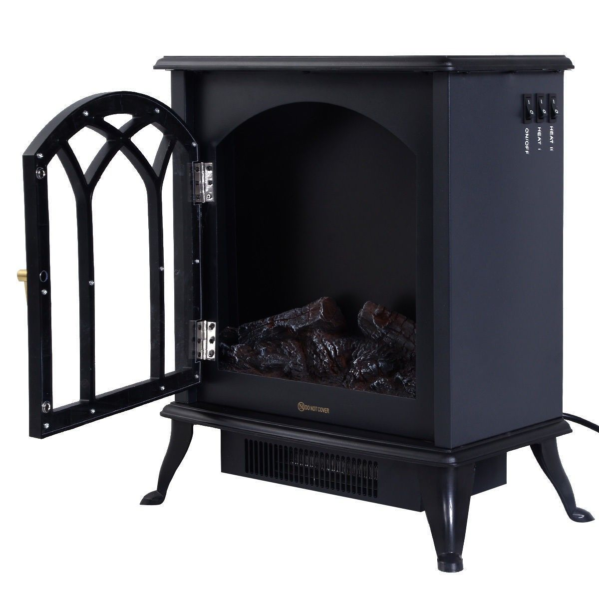 Free Standing Electric 1500W Fireplace Heater Fire Flame Stove Wood Adjustable - Fireplaces - Home & Garden
