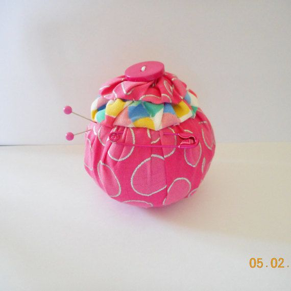 YO YO Pincushion. Handmade. Pink Cotton Fabric. by Happy2BCrafty