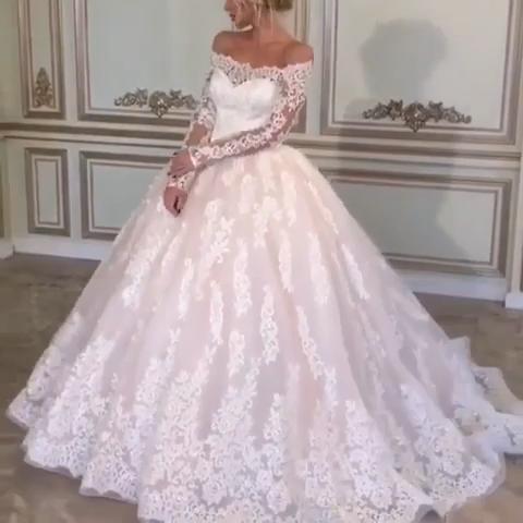 Photo of Vintage Lace Long Sleeves Wedding Dress Off Shoulder Ball Gown Bridal Dresses WEK053
