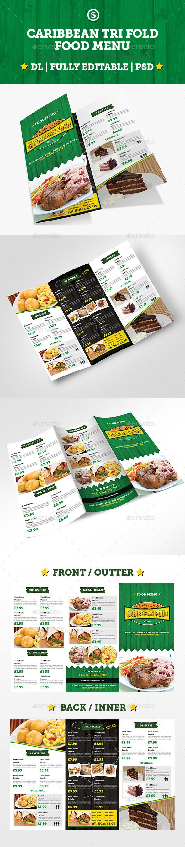 Caribbean Tri Fold Food Menu  Food Menu Search And Restaurant