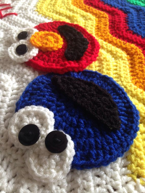 Elmo and Cookie Monster Brightly Colored Ripple Afghan on Etsy ...