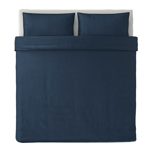 IKEA HJÄRTELIG Quilt cover and 2 pillowcases Dark blue 240x220/50x80 cm The quilt cover is extra durable and the tightly woven cotton threads prevent it ...