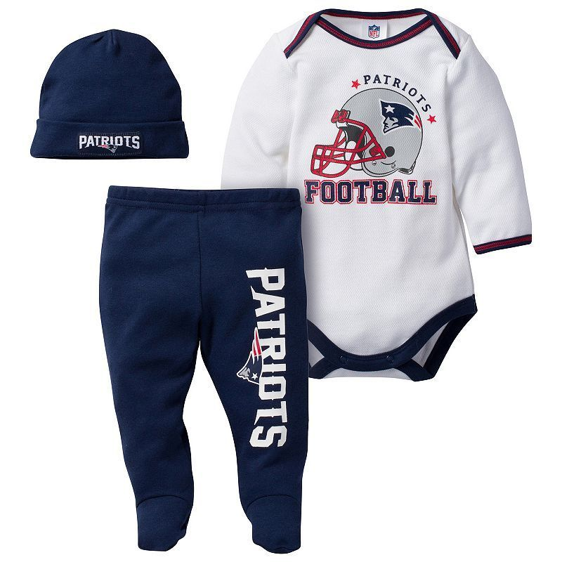 5cef1805d Baby New England Patriots 3-Piece Footed Bodysuit Set