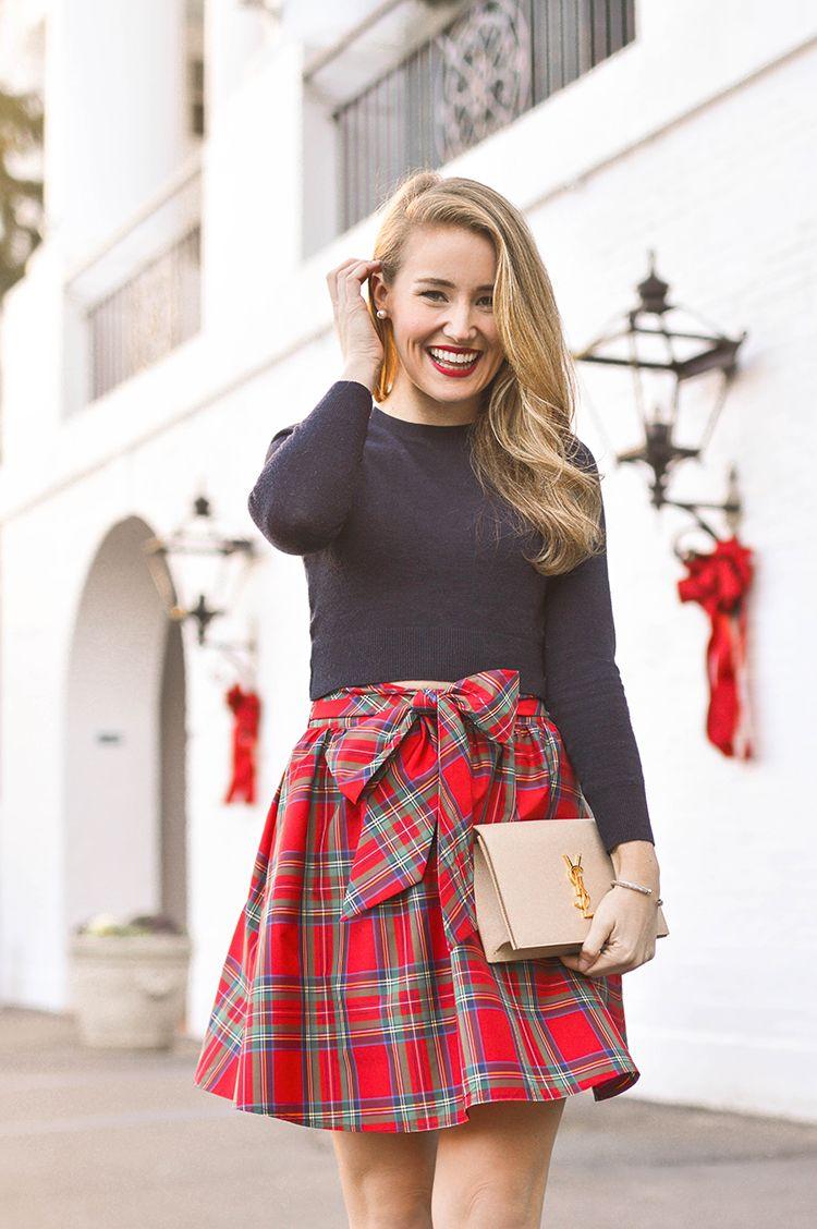 Tartan Plaid Skirt Navy Crop Sweater And Suede Heels