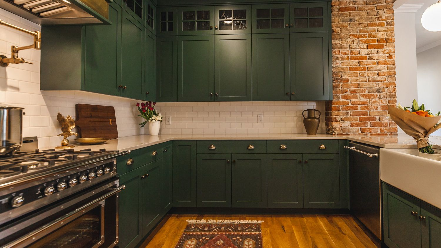 Maybe Have 2 Pillars Of Pantry Style Cabinets Flanking The Fireplace In Those Awkward Nooks Teal C Exposed Brick Kitchen Brick Kitchen Green Kitchen Cabinets