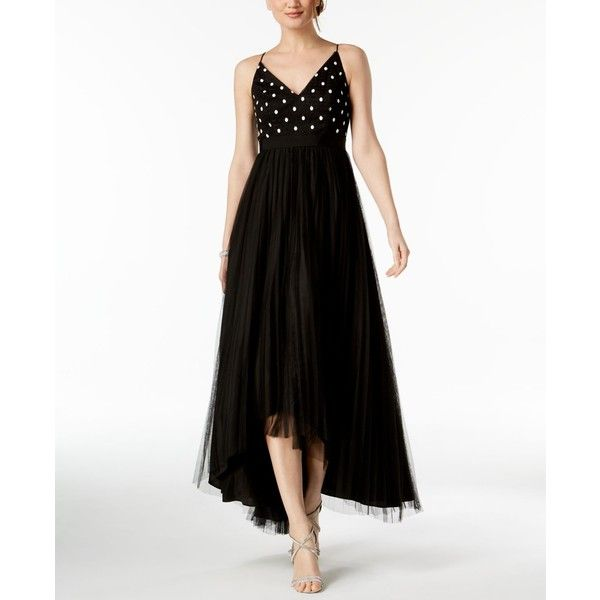 Adrianna Papell Petite Pleated High-Low Gown ($199) ❤ liked on ...