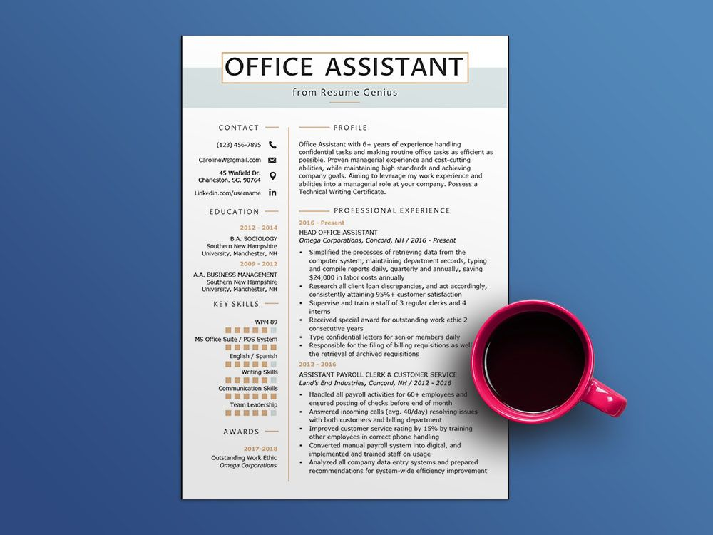 47+ Office assistant resume sample word format download inspirations
