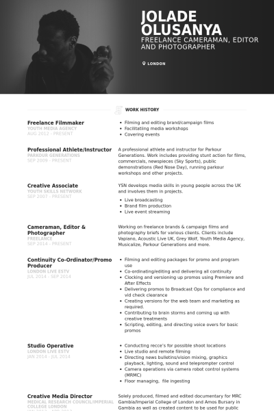 Freelance Film Maker Cameraman Editor Cv Resume Design